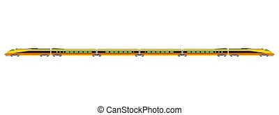Hight speed rail yellow train vector flat illustration design