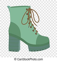 Hight woman boot icon, flat style