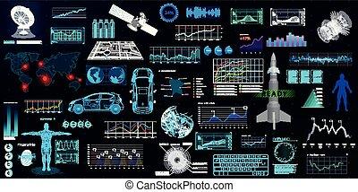 Hightech elements set, HUD UI style. Futuristic user...