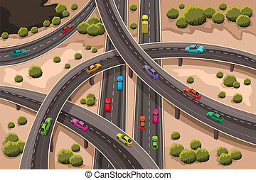 A vector illustration of highway viewed from above