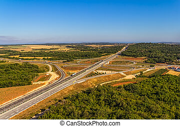 Highway - Aerial shot of highway near Pula, Croatia.