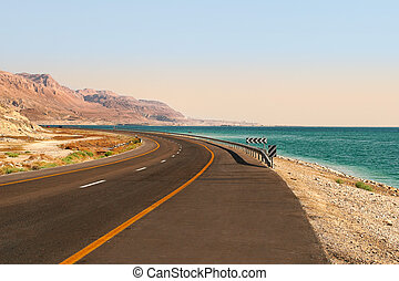 Highway along Dead Sea in Israel.