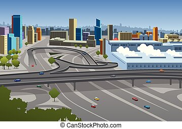 Highway and Cars in the City Illustration