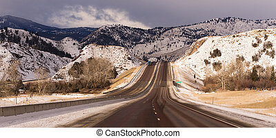 Highway Approaches South Fork River Crossing Utah - Winter...