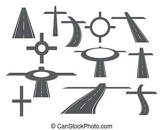 Highway, asphalt road. A set of curved elements in perspective. Bending roads vector illustrations.