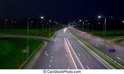 highway at night, hyper-lapse