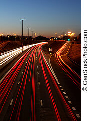 Highway at night - A highway exit at night