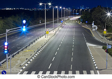 Highway at night in Tel Aviv. Yom Kippur.