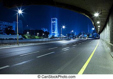 Highway at Night - Empty freeway at night