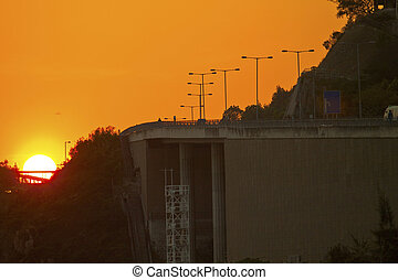 Highway at sunset