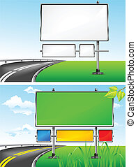 Landscape with blank billboards for advertising and highway, vector illustration