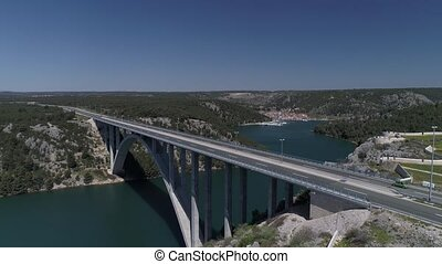 Highway bridge aerial - Aerial view of the traffic at the...
