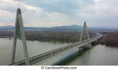 Highway Bridge On River - Cable bridge over a river, Megyeri...