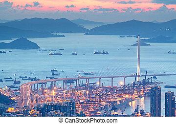highway bridge sunset in hong kong