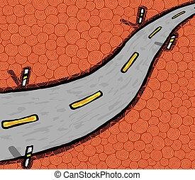 Highway - Hand drawn highway, vector illustration