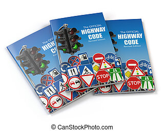 Highway code book.  Book of traffic rules and law with traffic road sign and traffic light. Preparation for exam or driving test concept.