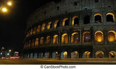 Highway, Coliseum at night. Rome, Italy.