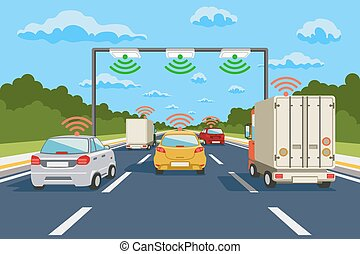 Highway communication system vector infographics. Road ...