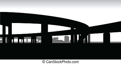 A silhouette of two raised highways meeting.