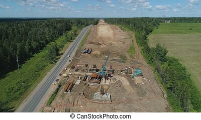 Highway construction Aerial view