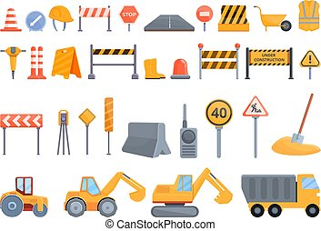 Highway construction icons set, cartoon style