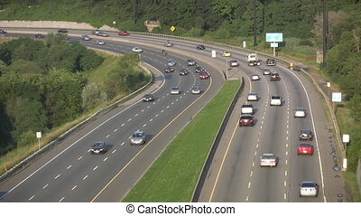 Highway corner. - Highway traffic on the Don Valley Parkway....
