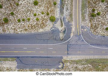 highway crossing aerial view