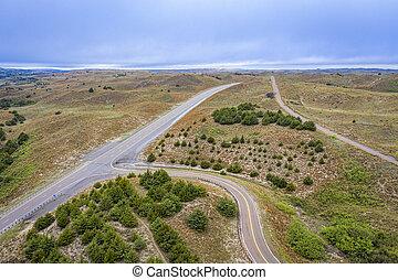 highway crossing in Nebraska aerial view