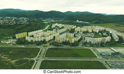 Highway crossing slovak town, aerial view. Banska Bystrica,...
