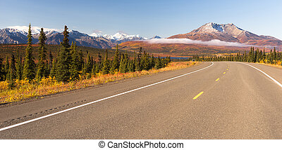 Highway Curve Wilderness Road Alaska Mountain Landscape