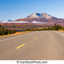 Highway Curve Wilderness Road Alska Mountain Landscape - The...
