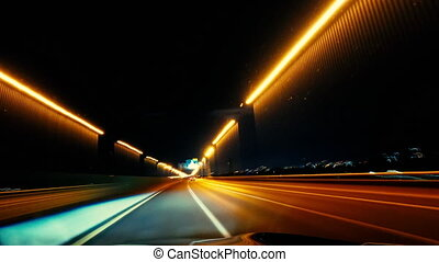 Highway Driving at Night Time lapse