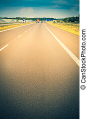 Highway, empty lane, close-up