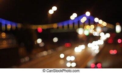 highway., fond, brouillé