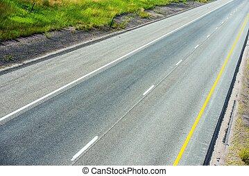 Highway Freeway Top View Photo. Empty Wyoming Highway.