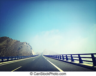 Highway going through the mountains