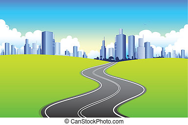 illustration of highway road going to urban city