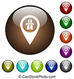 Highway GPS map location color glass buttons