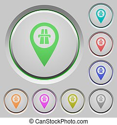 Highway GPS map location push buttons