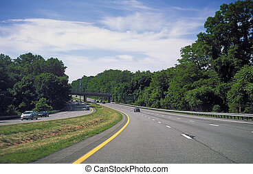 Highway. - Highway through the forest in Connecticut, USA.