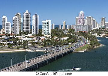 Highway in a big coastal city