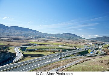 public highway at alava next to vitoria city in spain