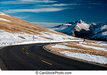 Highway in alpine tundra. Rocky Mountain National Park in...