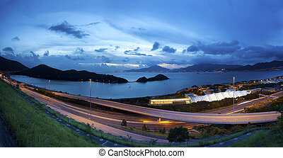 Highway in Hong Kong at sunset