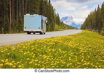 Highway in Jasper National Park - RV on the highway in...