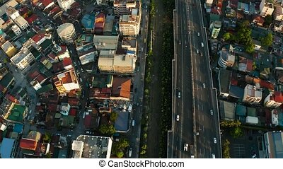 Highway in Manila, Philippines. - Highway with junctions and...