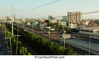 Highway in Manila, Philippines. - Multi-level highway with...