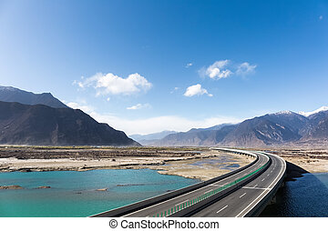 highway in nyingchi - expressway across the yarlung zangbo...