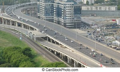Highway in sunny day in Moscow, Russia.