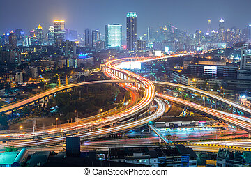 Highway in the city of Bangkok at Night